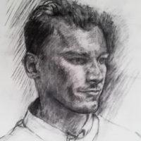 Portrait de JC. Fusain.