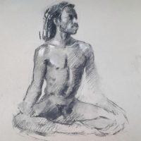 Fusain et rehauts de blanc, étude de nu