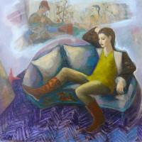 Amour courtois 30 x 30 cm huile sur toile