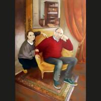 Cécile-et-Antoine, huile sur toile