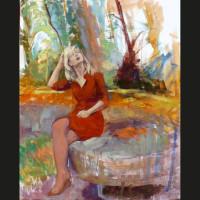 Cécile et le géant huile sur toile, 41 x 33 cm, 2007
