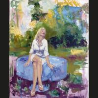 Cécile et le soleil huile sur toile 41 x 33 cm