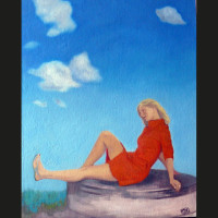 Cécile et les nuages 41 x 33 cm huile sur toile