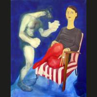 Et mes genoux huile sur toile, 146 x 114 cm, 2007