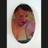 Fard 10 x 6 cm huile et encre sur toile