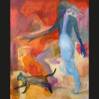 Femme qui court 4 huile sur toile, 162 x 130 cm