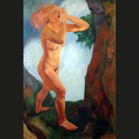 Femme qui court 2 huile sur toile, 195 x 130 cm