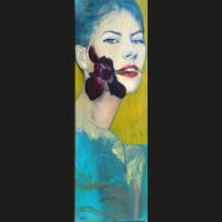Iris 60 x 20 cm huile sur toile
