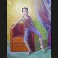 Léo huile sur toile, 41 x 33 cm, 2008