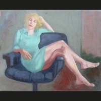 La penseuse aux pieds nus huile sur toile, 18 x 24 cm