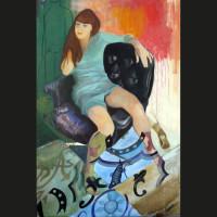 Le pisseur huile sur toile, 195 x 130 cm