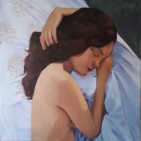 Les draps blancs 120 x 120 cm acrylique sur toile