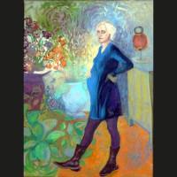 Quitterie enceinte huile sur toile, 35 x 27 cm, 2008
