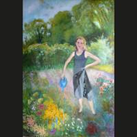 Séverine dans son jardin potager