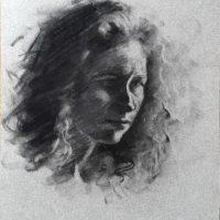 Fusain, portrait de Camille,