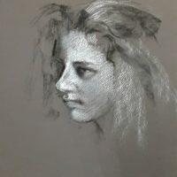fusain et carré comté blanc, étude de portrait