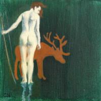 Diane acrylique et huile sur toile, 20 x 20 cm, 2010