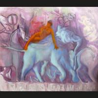 L éléphant-bleu-huile-sur-toile-61-x-54-cm-2010