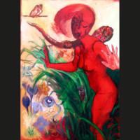 Femme qui court 3 huile sur toile, 116 x 81 cm, 2005