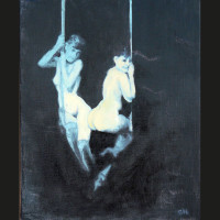 L'essentiel acrylique et huile sur toile, 27 x 22 cm