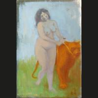 La ronde des lionnes acrylique et huile sur toile, 24 x 16 cm