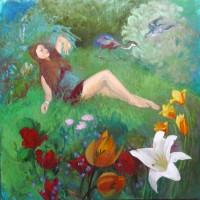 Le bouquet huile sur toile, 50 x 50 cm