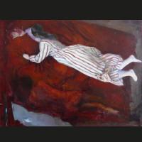 Les draps rouges huile et acrylique sur toile 61 x 46 cm