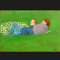 Pic-carreaux acrylique et huile sur toile, 27 x 19 cm